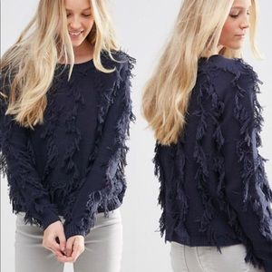 Asos Vila Shaggy Knit navy Sweater